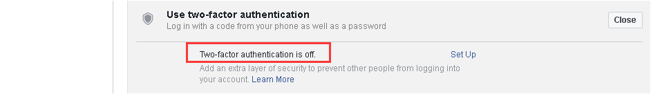 how to turn off facebook two-factor authentication