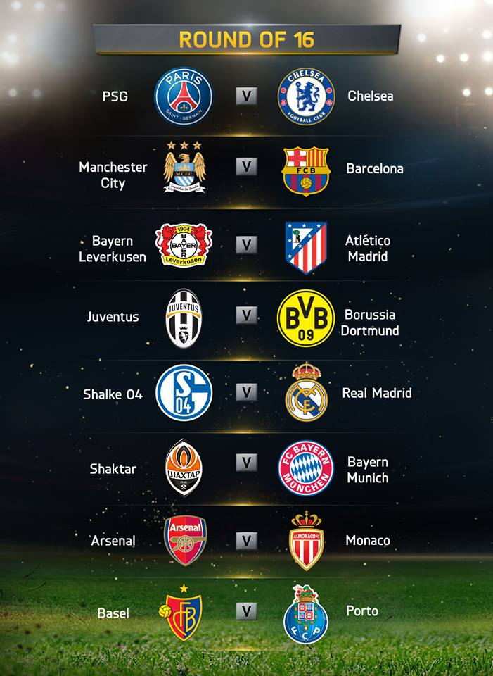 which is the biggest match of uefa champions league round of 16?