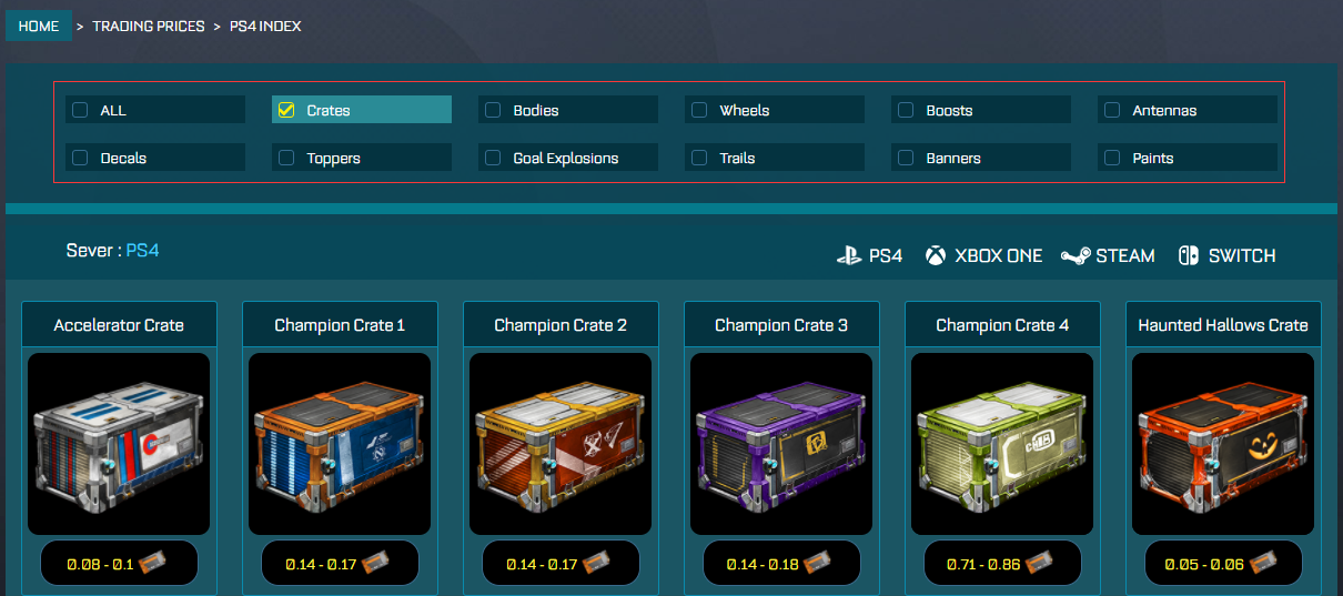 rocket league prices - rocketprices - 1